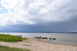 Finstere Wolken am Horizont im Ostseebad Rerik